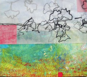 """""""À le jardin provencial I"""", Papiercollage, 2013, Privatbesitz"""