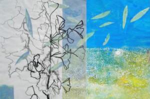 """""""À le jardin provencial II"""", Papiercollage, 2013, Privatbesitz"""