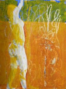 """""""Tanzende"""", Mischtechnik auf Papier, 30cmX40cm, 2009"""