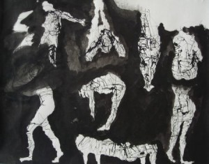 """""""Frauennetzwerk"""", Tusche auf Papier, 50cmX63,5cm, 2008"""
