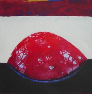 """""""Roter Kern I"""", Mischtechnik auf Papier, 30cmX30cm, 2008"""