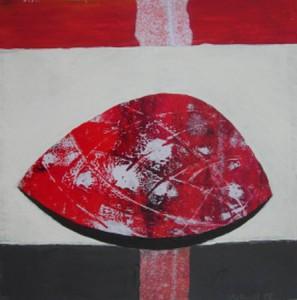 """""""Roter Kern II"""", Mischtechnik auf Papier, 30cmX30cm, 2008"""