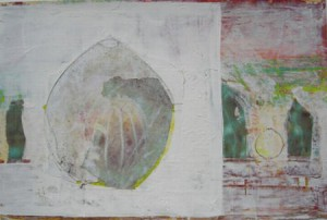 """Wandlungsspur I"", Mischtechnik auf Papier, 20cmX30cm, 2003"