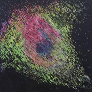 """Wandlungsspur V"", Mischtechnik auf Papier, 30cmX30cm, 2003"