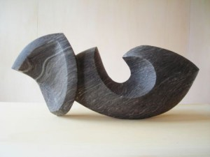 """Skulptur """"Begegnung"""", schwarzer Alabaster, 2015"""